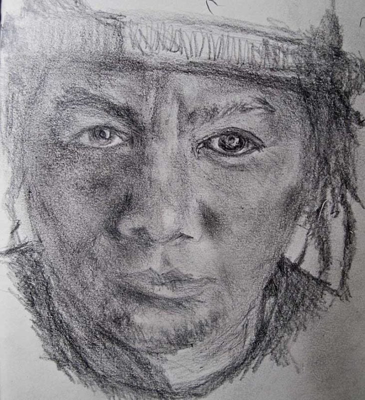 Self portrait with pencil.